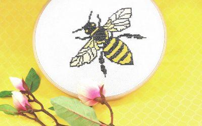 """Stickmuster """"Biene"""" für Kreuzstich mit Gratis-Download"""