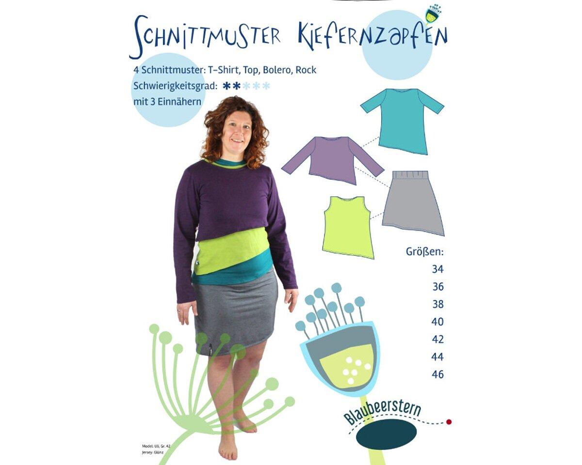 Damen-Schnittmuster Shirt, Top, Bolero und Rock KIEFERNZAPFEN ...