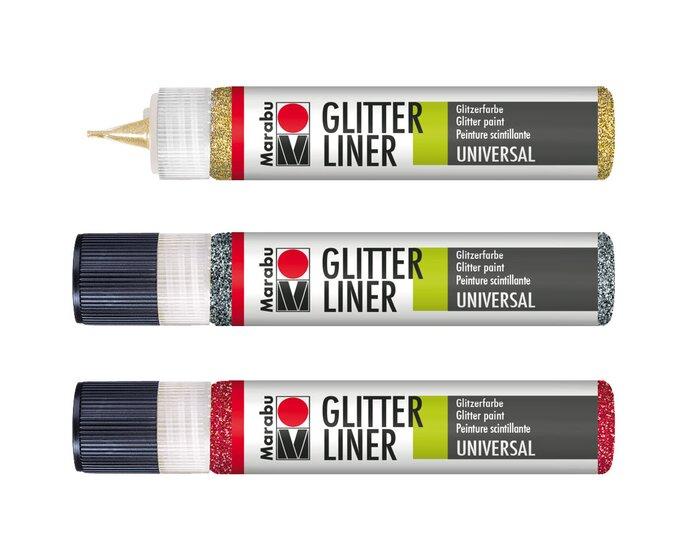 Marabu GLITTER LINER, Malfarbe mit Glitzereffekt, 25 ml, 18 Farben ...