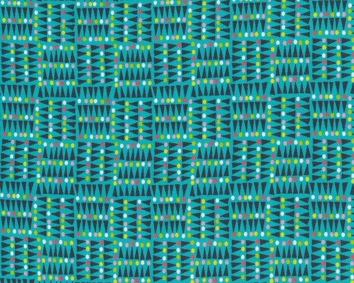 Fließender Viskosestoff CONITOS, Kegel-Muster, petrol-schwarz