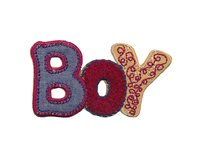 Applikation BOY, Schriftzug in Vintage Optik, blau-rot-beige