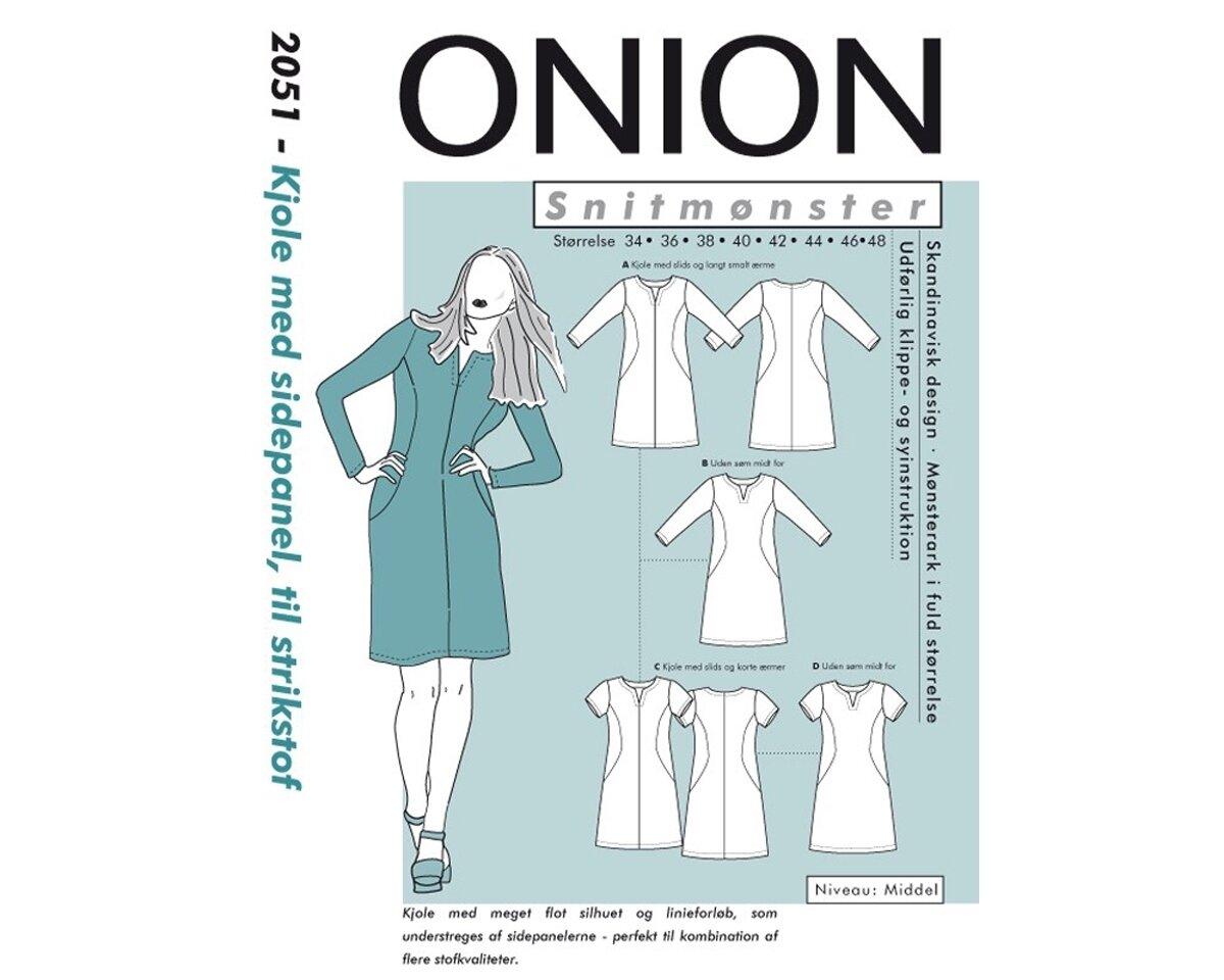 Kleid mit figurumspielenden Seiteneinsätzen, Schnittmuster ONION 2051