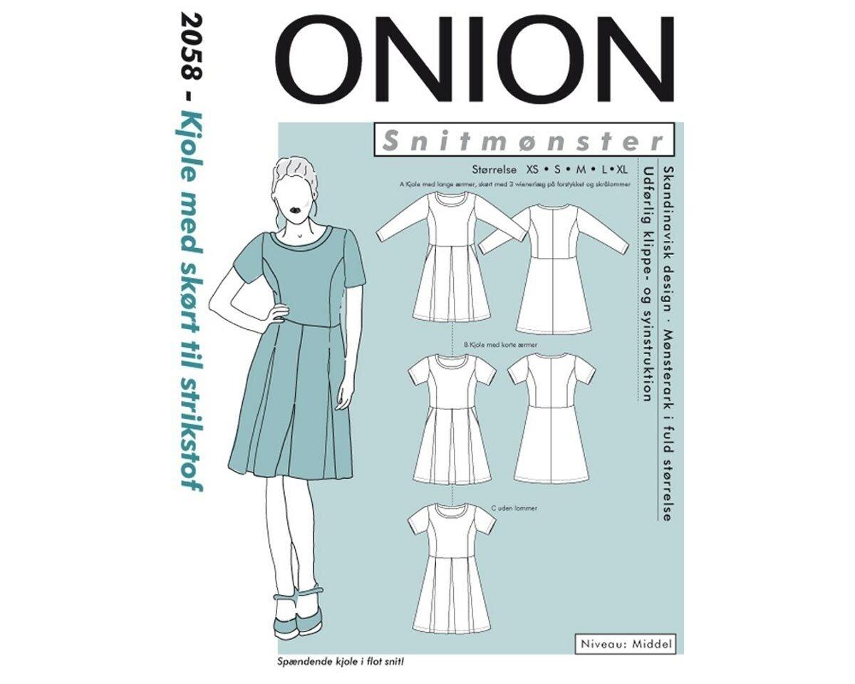 Kleid mit angesetztem weiten Rockteil, Schnittmuster ONION 2058