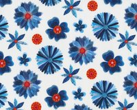 Patchworkstoff Organic Cotton MOODY BLUES, Blüten,...