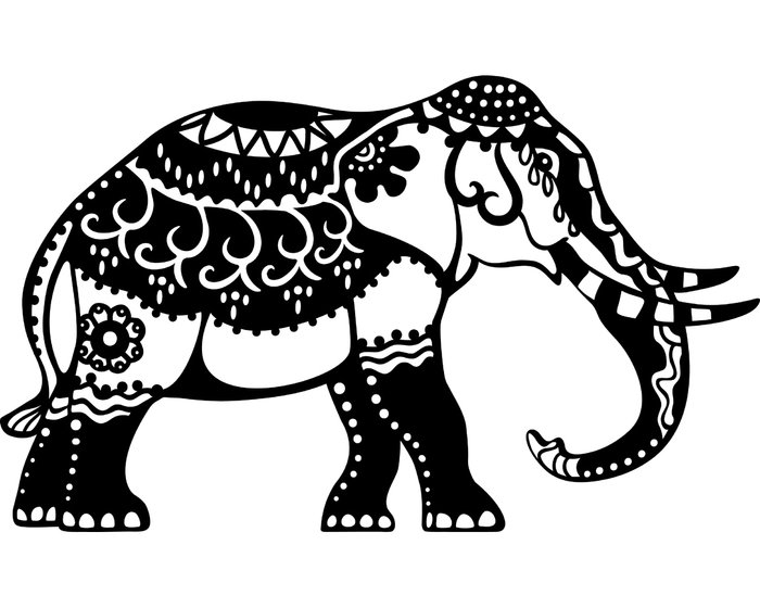 Silhouette-Schablone INDIAN ELEPHANT, Elefant mit Muster, 21 x 29,7 cm (DIN A 4)