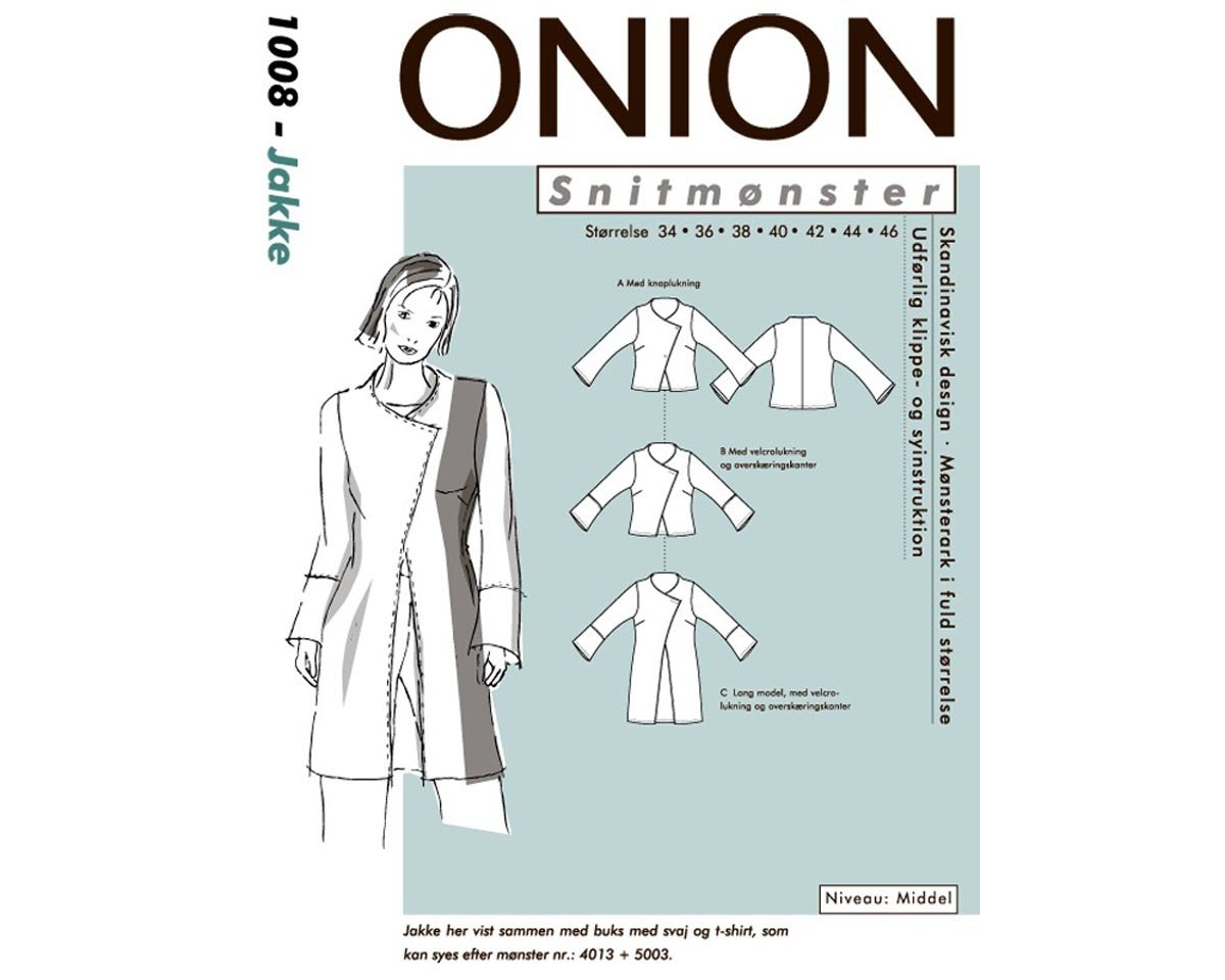 Jacke mit schräger Vorderkante, Schnittmuster ONION 1008