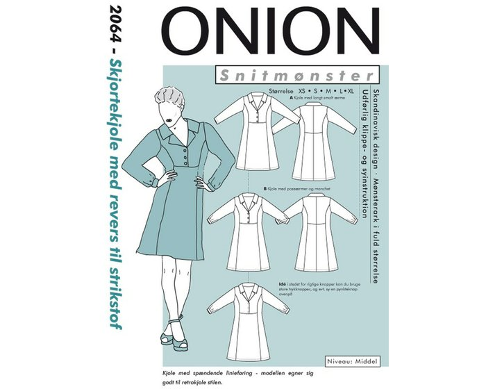 Hemdblusenkleid mit Knopfleiste, Schnittmuster ONION 2064