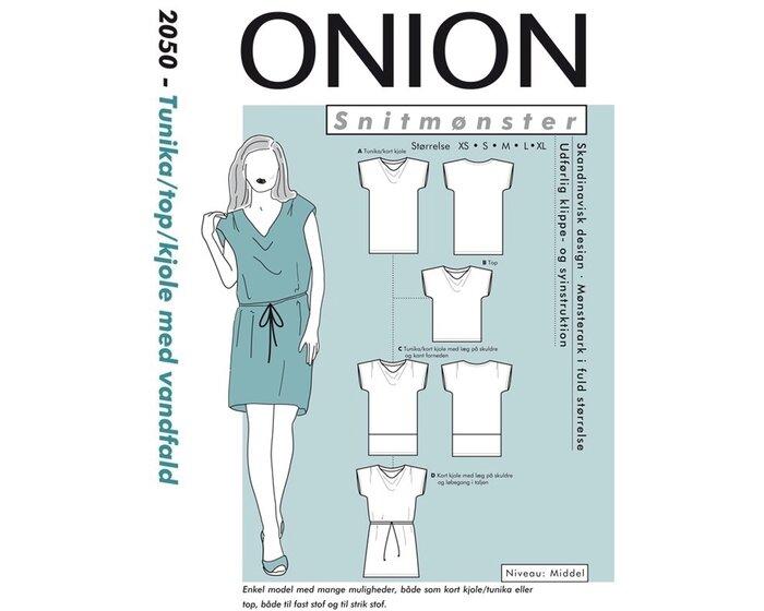 Kleid, Tunika oder Top mit Wasserfallauschnitt, Schnittmuster ONION 2050