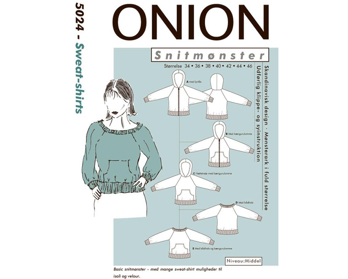 Sweatshirt oder Kapuzenjacke, Schnittmuster ONION 5024