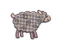 Applikation COTTAGE SHEEP, kariertes Schaf, beige