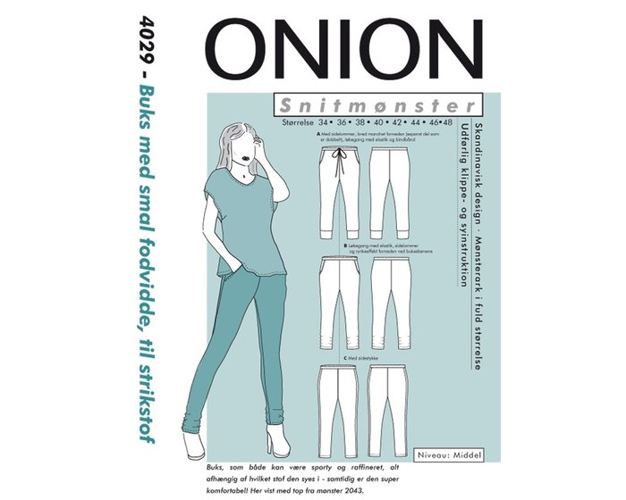 Bequeme schmale Hose, Schnittmuster ONION 4029