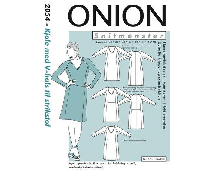 Bahnenkleid mit Raglanärmeln und V-Ausschnitt, Schnittmuster ONION 2054
