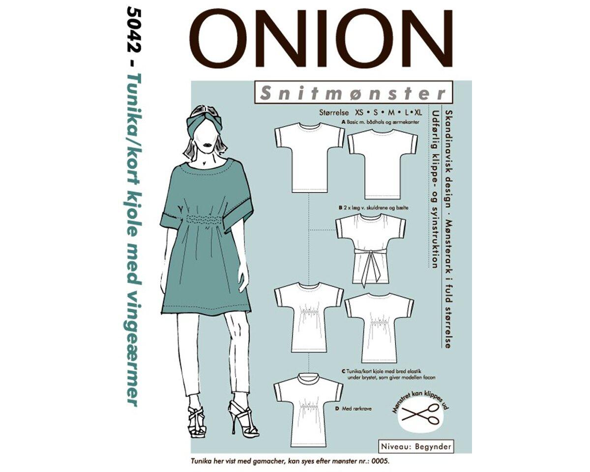 Tunika oder kurzes Kleid mit Flügelärmeln, Schnittmuster ONION 5042