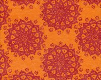 Filzplatte DESIGN FELT FLORESCENCE, Ornamentblume, orange-rot