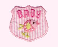 Applikation Emblem Baby mit Vogel, rosa