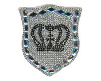 Applikation CRYSTAL CROWN, Kronen-Wappen, crystal-schwarz