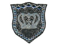 Applikation CRYSTAL CROWN, Kronen-Wappen, schwarz-crystal