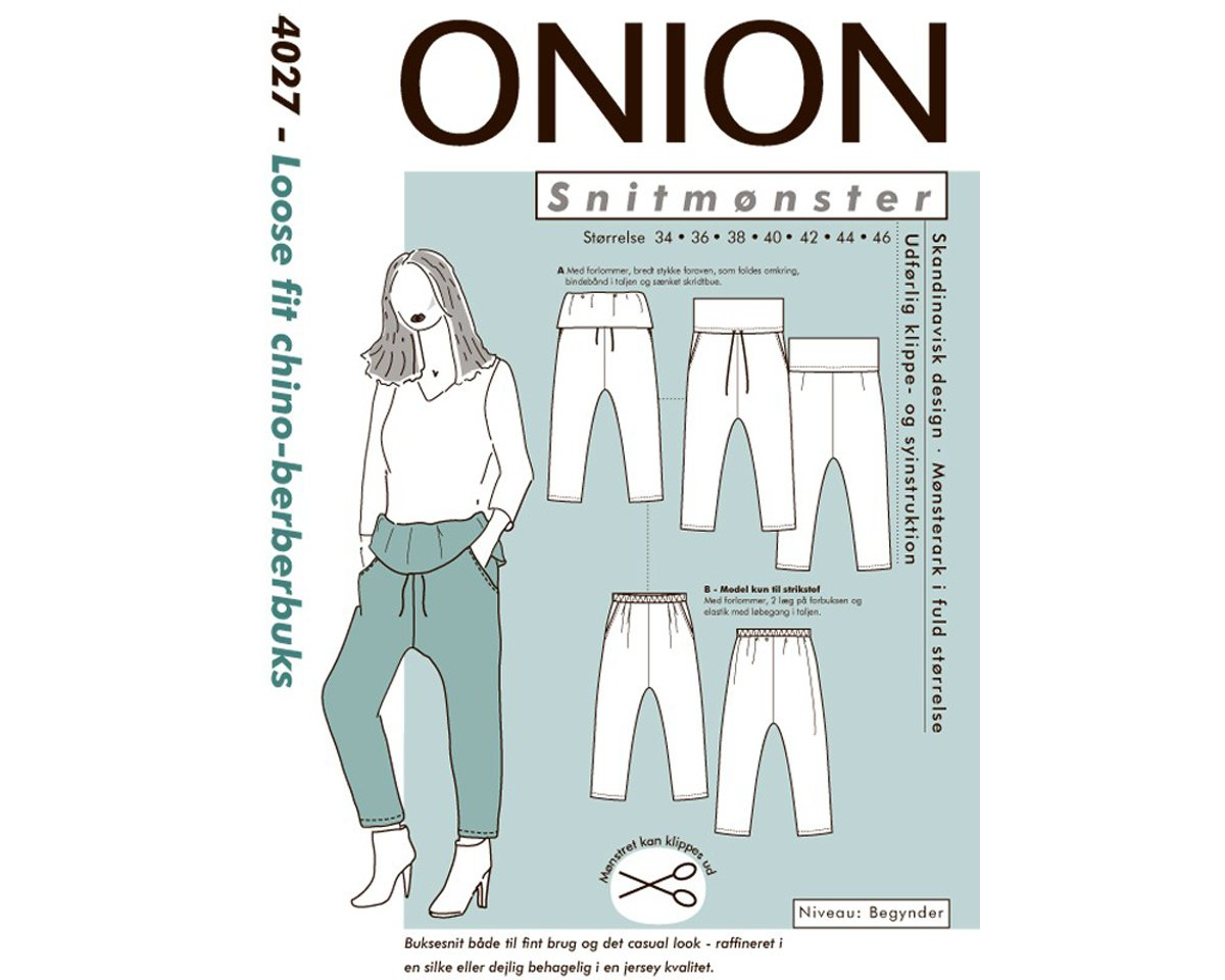 Chino-Berber-Hose mit Umschlag, Schnittmuster ONION 4027