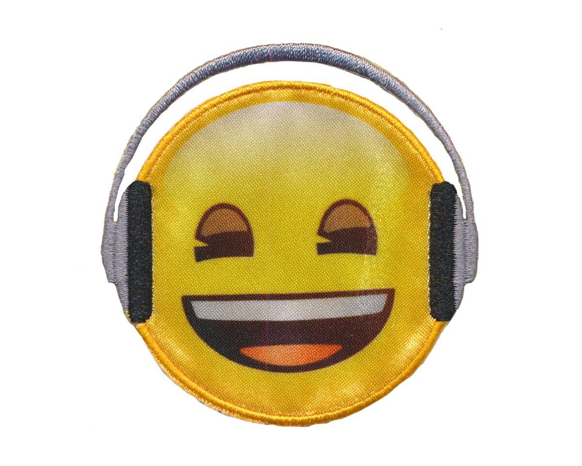 Applikation Emoji Headphones Smiley Mit Kopfhörer Gelb