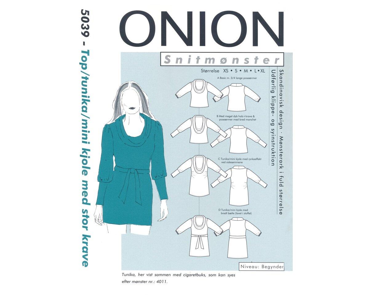 Shirt, Tunika oder Minikleid mit Schalkragen, Schnittmuster ONION 5039