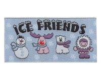 Jacquard-Etikett Ice Friends, 4 Winterfiguren, hellblau