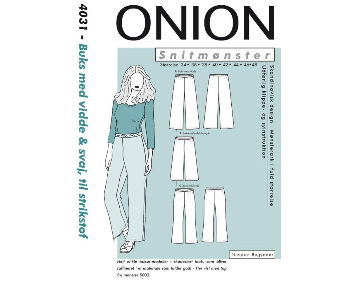 Weite, klassische Hose, Schnittmuster ONION 4031