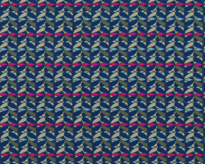 Feincord DONNA LUCIA, Blatt-Flecht-Muster, dunkelblau-olivgrün