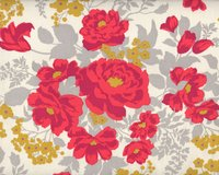 Patchworkstoff FLORA ROSE, Rosen-Bouquets, pastellrot-natur hell