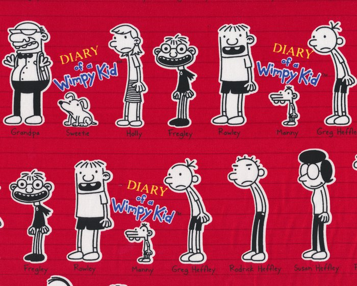 Patchworkstoff DIARY OF A WIMPY KID, die Helden aus Gregs Tagebuch, rot