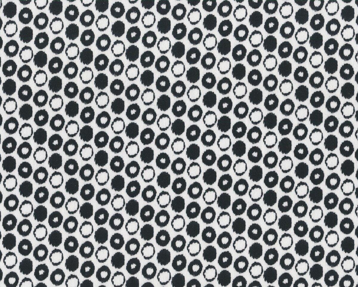Baumwoll-Stretch SETUBAL, Ringe-Muster, schwarz-weiß
