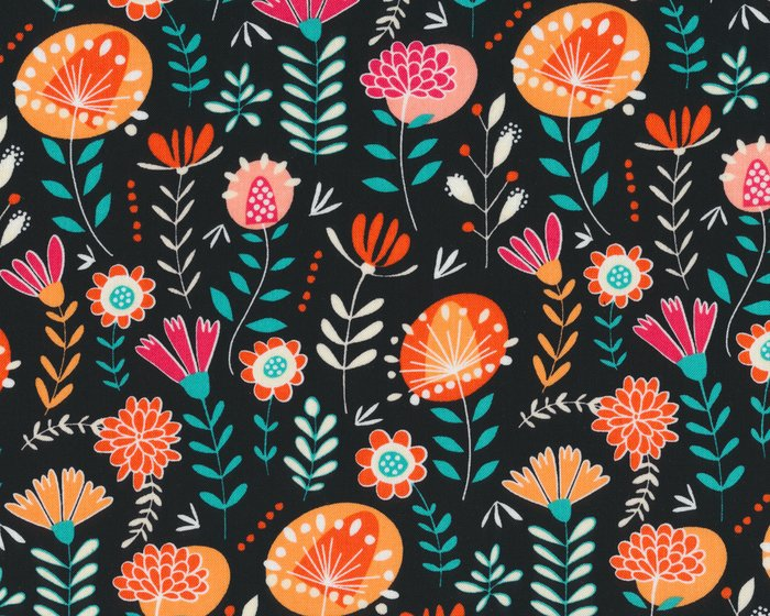 Patchworkstoff GYPSY LANE, Comic-Blumen, schwarz-orange