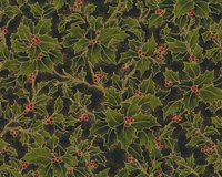 Metallic-Patchworkstoff HOLLY NIGHT METALLIC, Ilex, moosgrün-schwarz-gold