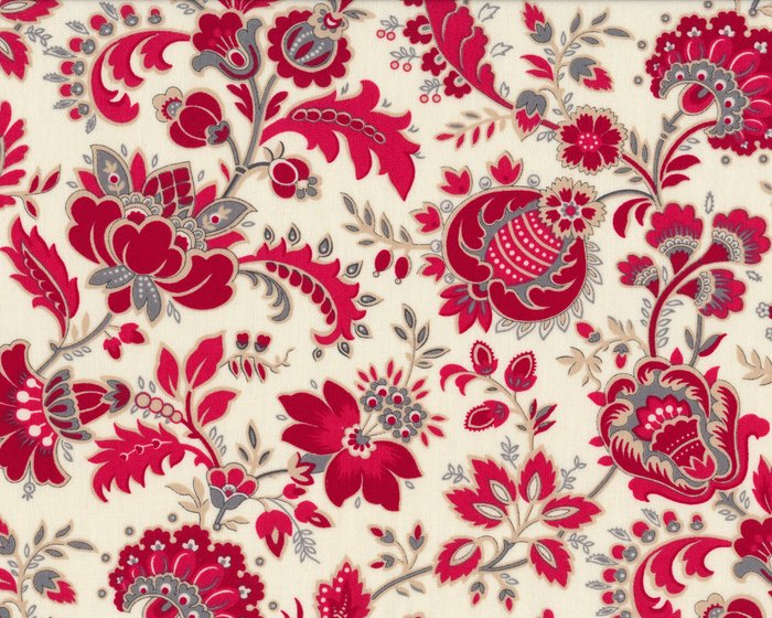 Patchworkstoff RED IS THE NEW NEUTRAL, oppulente Vintage-Blüten, helles beige-dunkelrot
