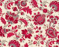 Patchworkstoff RED IS THE NEW NEUTRAL, oppulente Vintage-Blüten, helles...
