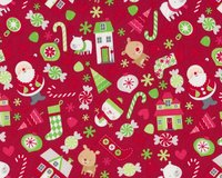 Patchworkstoff HOME FOR THE HOLIDAYS, Weihnachtsmann und Candies, dunkelrot
