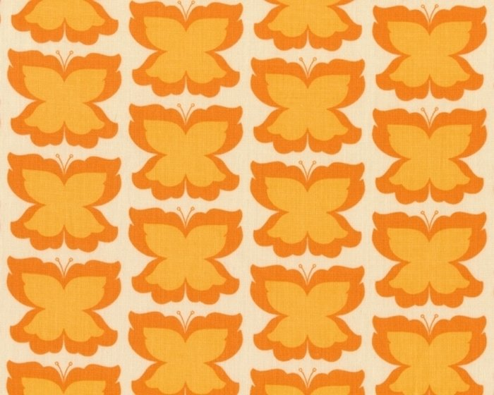 Patchworkstoff Meadowsweet mit Schmetterlingen, orange-helles orange