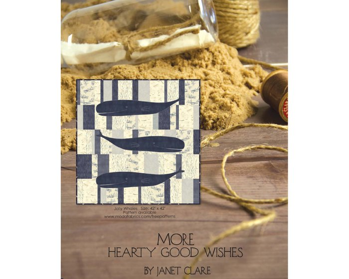 Patchworkstoff MORE HEARTY GOOD WISHES, Maritimes mit Walen, creme-beige
