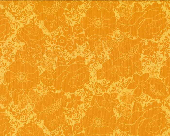 Patchworkstoff MINT TO BE, Rosen und Schmetterlinge, gedecktes orange