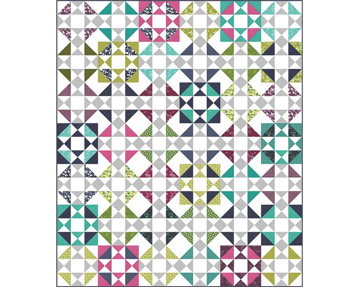 Patchworkstoff SIMPLY COLORFUL II, Rastergitter, aubergine-fuchsia