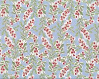 Patchworkstoff MERRY STITCHES, Ilex-Ranken, hellblau