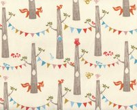 Bio Interlock Organic Cotton WOODLAND PARTY, Wimpel-Wald mit Fuchs,...