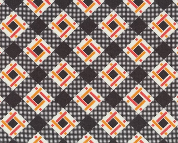 Patchworkstoff FLORENCE mit Diagonal-Viereck-Flechtmuster, dunkles schlammbraun-lachsrot