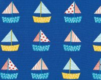 Patchworkstoff DONT BE CRABBY, Segelboote, blau-gelb