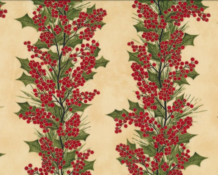 Patchworkstoff WINTER BERRIES, Ilex-Ranken, rot-beige-gold metallic