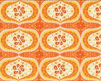 Patchworkstoff FOLKLORE, Wirbel-Blüten-Ornament, orange