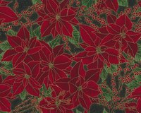 Metallic-Patchworkstoff BERRIES AND BLOOMS, Weihnachtsstern und Ilexzweige,...