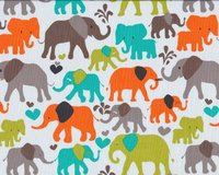 Patchworkstoff ELEPHANT WALK, Elefanten, orange-braun