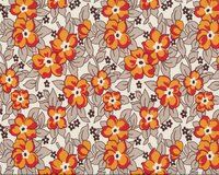 Patchworkstoff HADLEY, Blumen, rot-orange