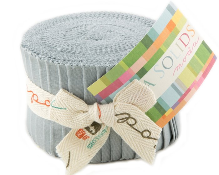 Precuts Junior Jelly Roll BELLA SOLIDS, 6 x 110 cm, 20 Streifen, grau