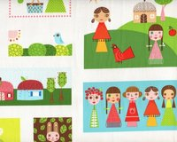 Patchworkstoff Appleville mit lustigen Retro-Comic-Figuren mit Tieren in...